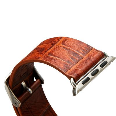 Dark Brown Crocodile Pattern Apple Watch Band-Long