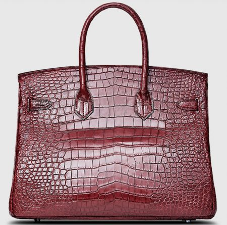 Dark Red Genuine Crocodile Skin Handbag-Back