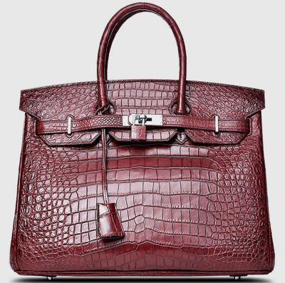 Dark Red Genuine Crocodile Skin Handbag-Front