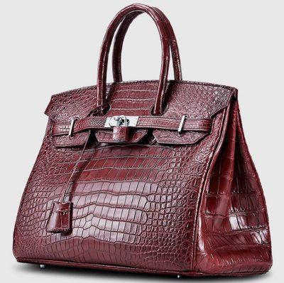 Dark Red Genuine Crocodile Skin Handbag-Side