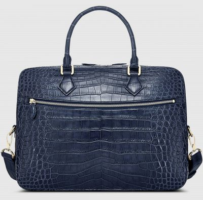Fashion Crocodile Bag, Luxury Crocodile Briefcase for Men-Blue