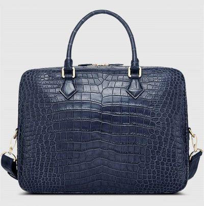 Fashion Crocodile Bag, Luxury Crocodile Briefcase for Men-Blue-Back