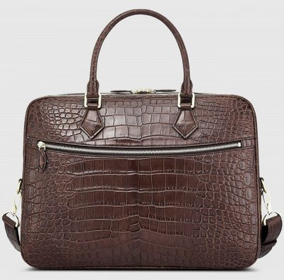 Fashion Crocodile Bag, Luxury Crocodile Briefcase for Men-Brown