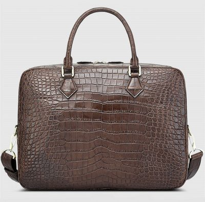 Fashion Crocodile Bag, Luxury Crocodile Briefcase for Men-Brown-Back