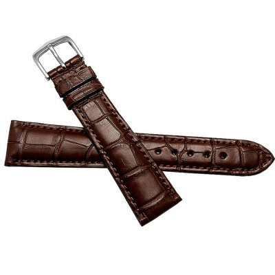Genuine Alligator Leather Watch Band-Brown-Front