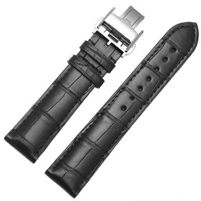 Genuine Alligator Leather Watch Band With Butterfly Buckle-Black