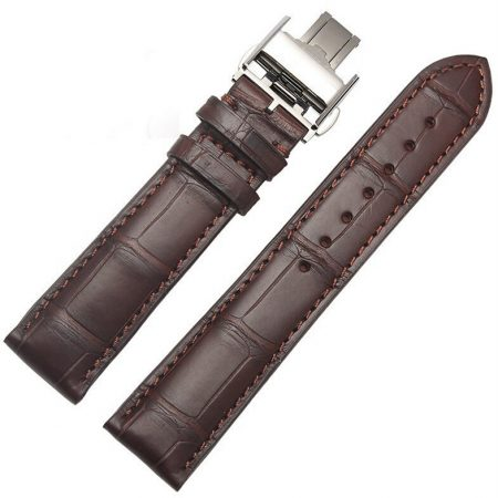 Genuine Alligator Leather Watch Band With Butterfly Buckle-Brown