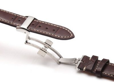 Genuine Alligator Leather Watch Band With Butterfly Buckle-Brown Details