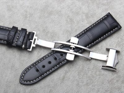 Genuine Alligator Leather Watch Band With Butterfly Buckle-Buckle