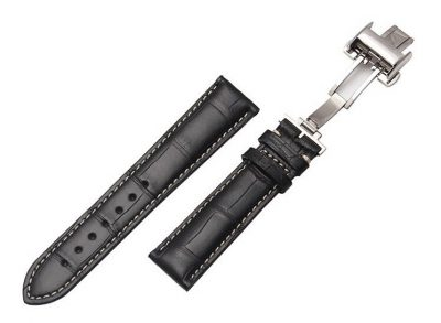 Genuine Alligator Leather Watch Band With Butterfly Buckle-Details