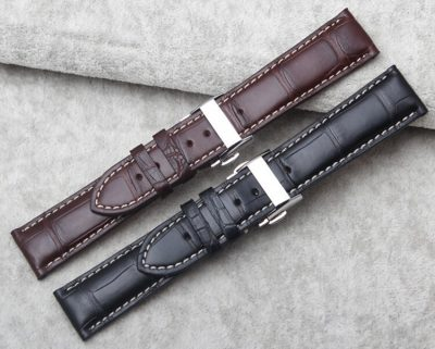 Genuine Alligator Leather Watch Band With Butterfly Buckle-Front