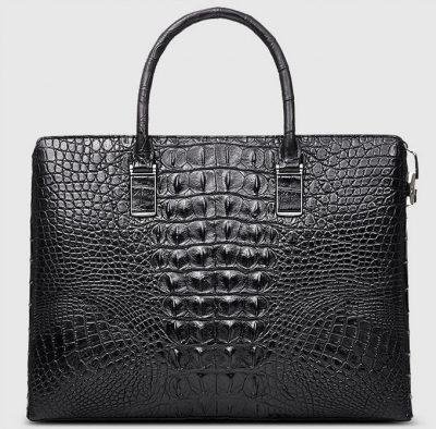 Genuine Back Crocodile Bag,Crocodile Business Bag for Men-Back