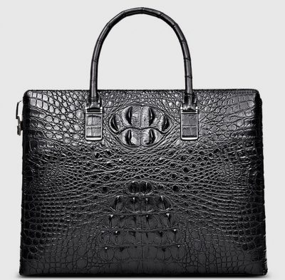 Genuine Back Crocodile Bag,Crocodile Business Bag for Men-Front