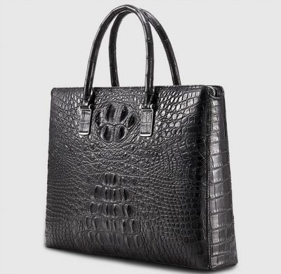 Genuine Back Crocodile Bag,Crocodile Business Bag for Men-Left