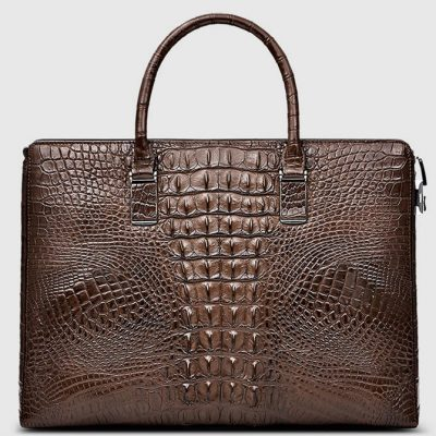 Genuine Brown Crocodile Bag,Crocodile Business Bag for Men-Back