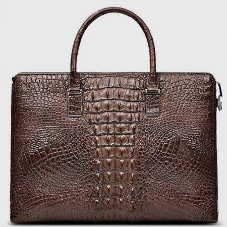 Genuine Brown Crocodile Bag,Crocodile Business Bag for Men-Back