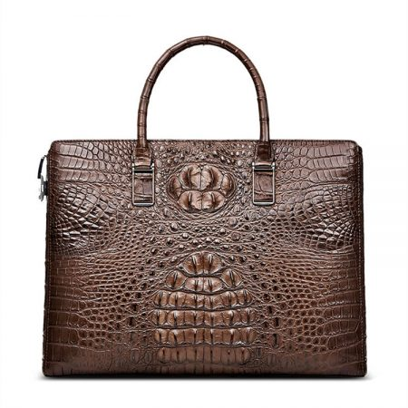 Genuine Brown Crocodile Bag,Crocodile Business Bag for Men-Front