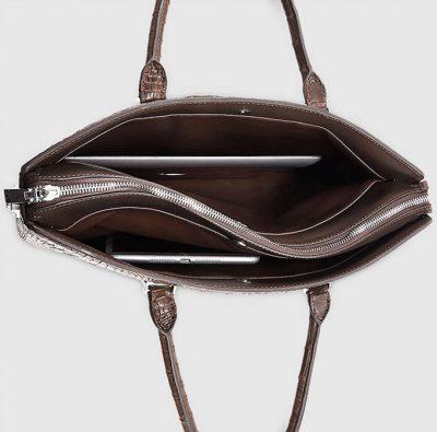 Genuine Brown Crocodile Bag,Crocodile Business Bag for Men-Inside