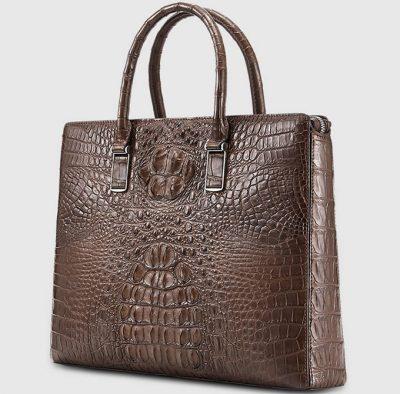 Genuine Brown Crocodile Bag,Crocodile Business Bag for Men-Left