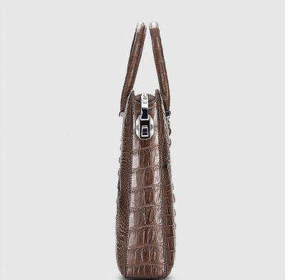 Genuine Brown Crocodile Bag,Crocodile Business Bag for Men-Side