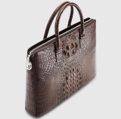 Genuine Brown Crocodile Bag,Crocodile Business Bag for Men-Top