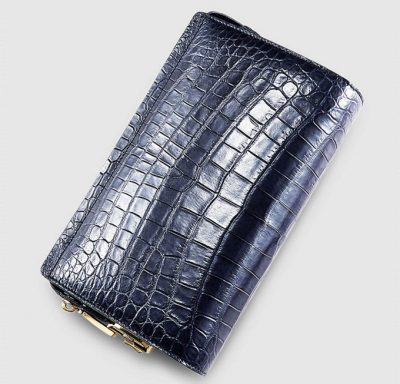 Large Genuine Crocodile Wallet-Blue