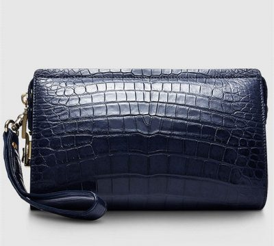 Large Genuine Crocodile Wallet-Blue-Back