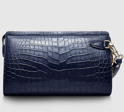 Large Genuine Crocodile Wallet-Blue-Front