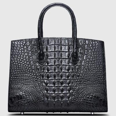 Black Genuine Crocodile Handbag-Back