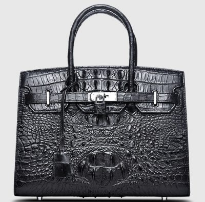 Black Genuine Crocodile Handbag-Front