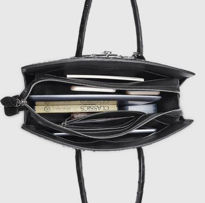 Black Genuine Crocodile Handbag-Inside