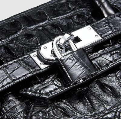 Black Genuine Crocodile Handbag-Lock