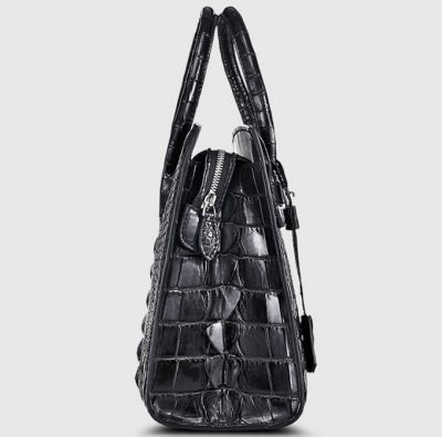 Black Genuine Crocodile Handbag-Side