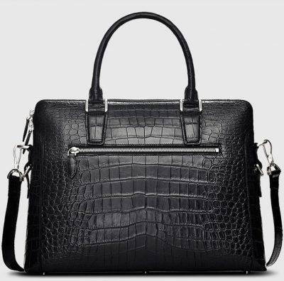 Luxury Crocodile Briefcase, Luxury Crocodile Laptop Bag for Men-Black-Back
