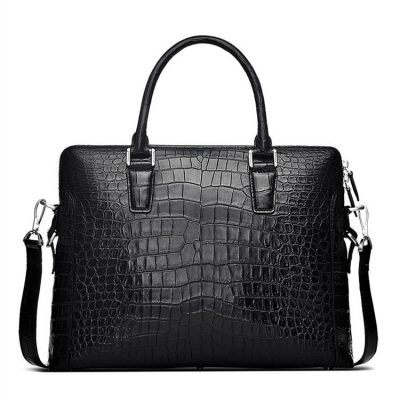 Luxury Crocodile Briefcase, Luxury Crocodile Laptop Bag for Men-Black-Front