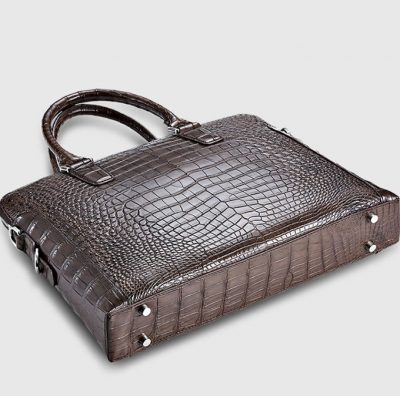 Luxury Crocodile Briefcase, Luxury Crocodile Laptop Bag for Men-Brown-Bottom