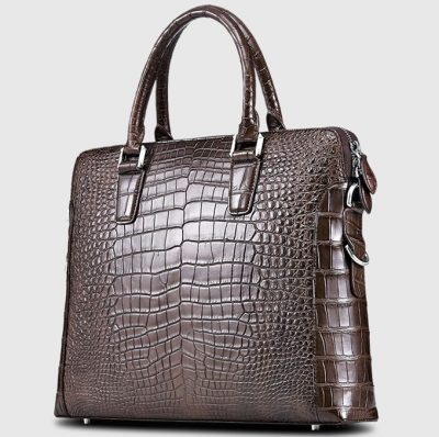 Luxury Crocodile Briefcase, Luxury Crocodile Laptop Bag for Men-Brown-Right