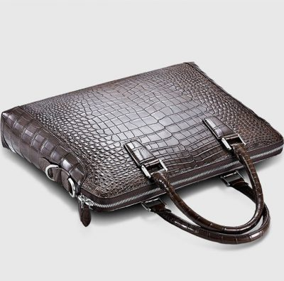 Luxury Crocodile Briefcase, Luxury Crocodile Laptop Bag for Men-Brown-Top