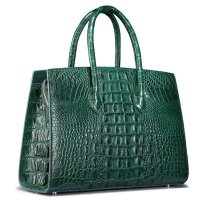 Luxury Green Genuine Crocodile Handbag-Back