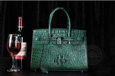 Luxury Green Genuine Crocodile Handbag-Sample