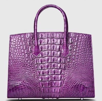 Purple Genuine Crocodile Handbag-Back