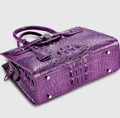 Purple Genuine Crocodile Handbag-Bottom