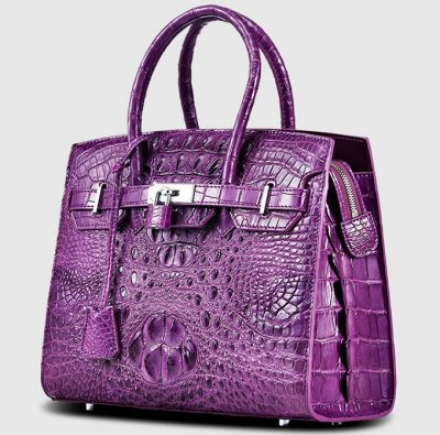 Purple Genuine Crocodile Handbag-Left