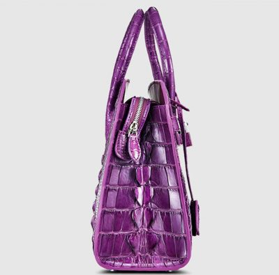 Purple Genuine Crocodile Handbag-Side