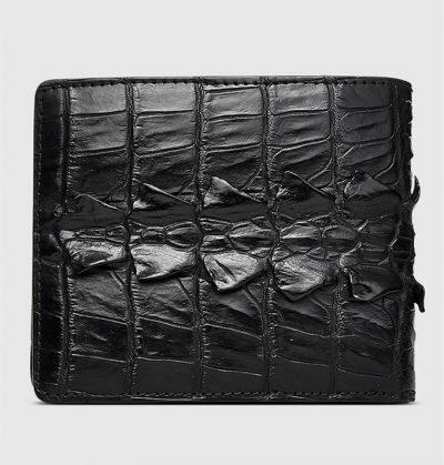 Mens Bifold Genuine Crocodile Wallet-Back