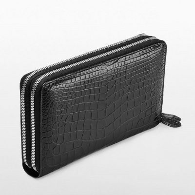 Mens Crocodile Clutch Bag, Large Crocodile Wallet-Double zipper