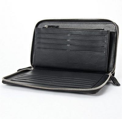 Mens Crocodile Clutch Bag, Large Crocodile Wallet-Inside