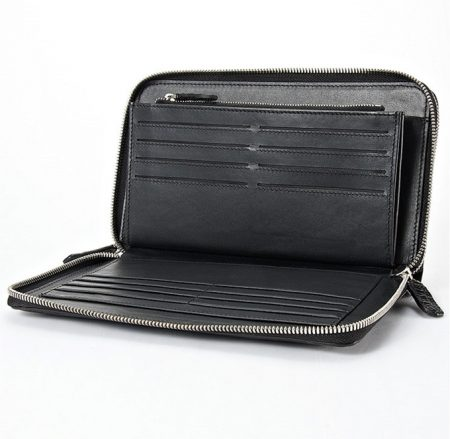 Mens Crocodile Clutch Bag, Large Crocodile Wallet-Inside