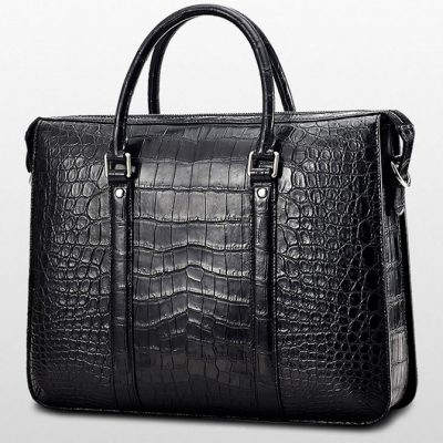 Mens Fashion Crocodile Bag-Black-Back
