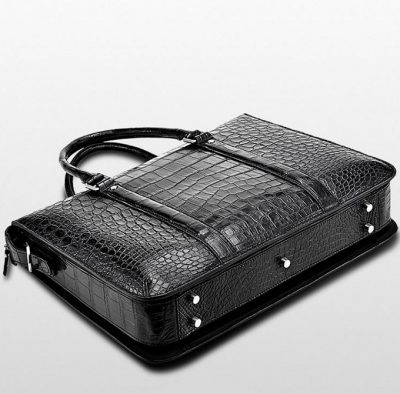 Mens Fashion Crocodile Bag-Black-Bottom